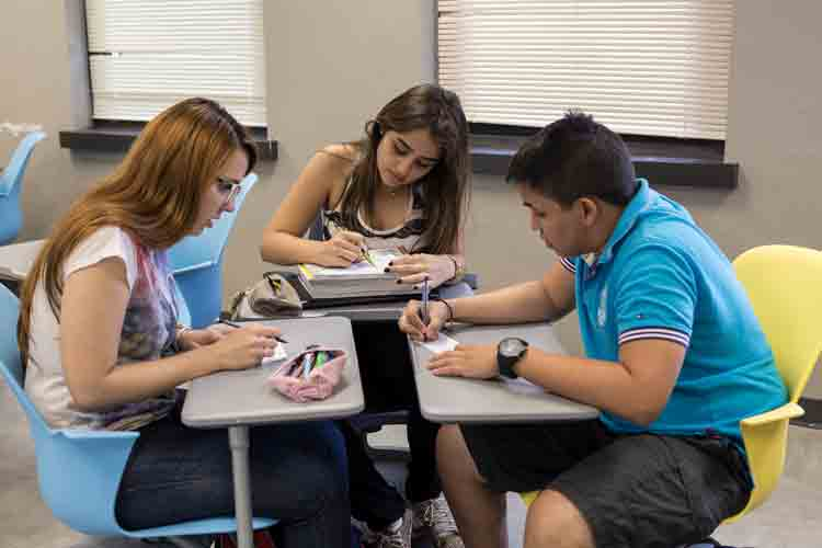 English as a Second Language learners collaborating in classroom