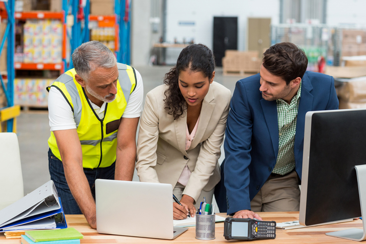 Supply chain professional working in warehouse