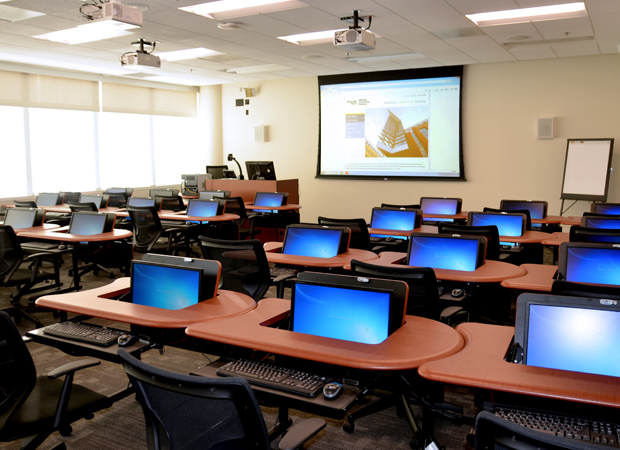Shot of empty computer lab