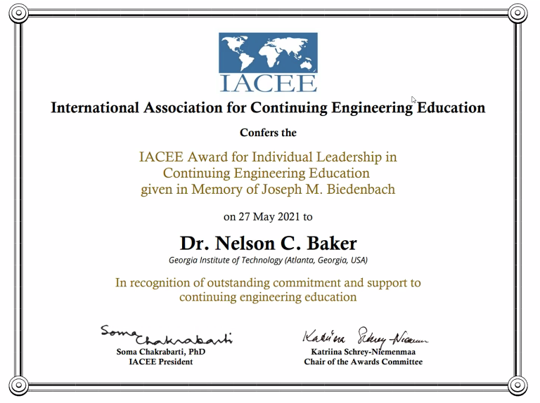 Nelson Baker's IACEE Award for Individual Leadership in CEE