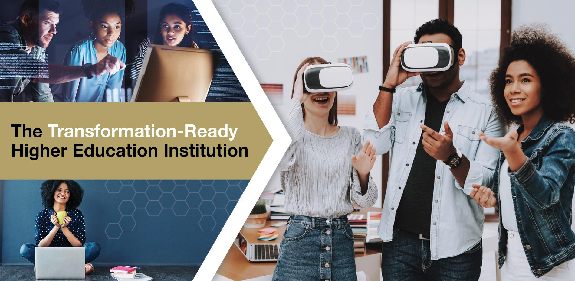 Working professionals sit around computer screens, college students look through virtual reality goggles, and a female online learner sits working on her laptop. All representations of the future landscape of higher education.