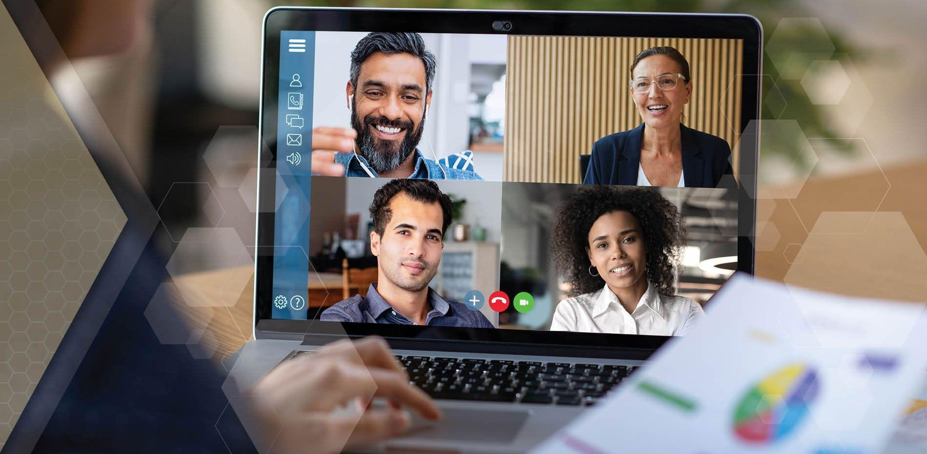 Remote workers meet virtually through a video conference application.